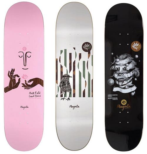 magenta skateboard art