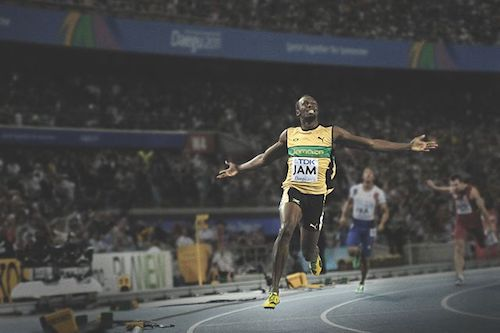 Usain Bolt celebrating
