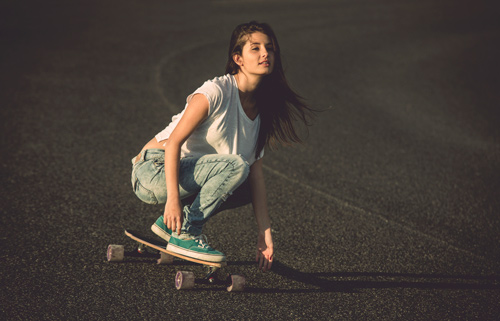 woman longboarding