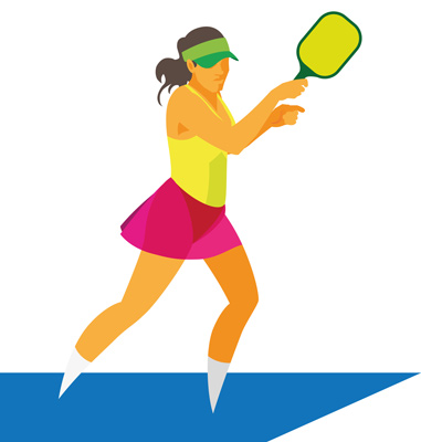 young woman playing pickleball
